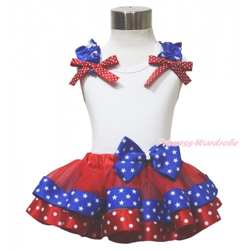 American's Birthday 4th July White Tank Top Star Ruffle Red White Dot Bow Red Minnie Royal Blue Patriotic Star Satin Trimmed Pettiskirt MG1642