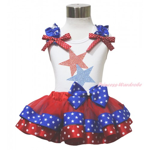 American's Birthday 4th July White Tank Top Star Ruffle Red White Dot Bow Sparkle Rhinestone Twin Star Red Minnie Blue Patriotic Star Satin Trimmed Pettiskirt MG1644