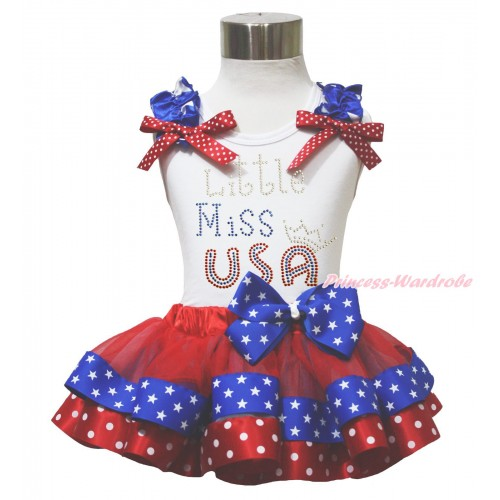 American's Birthday 4th July White Tank Top Star Ruffle Red White Dot Bow Sparkle Rhinestone Little Miss USA Red Minnie Blue Patriotic Star Satin Trimmed Pettiskirt MG1647