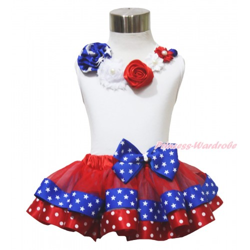 American's Birthday 4th July White Tank Top Satin Star Pearl Flower Rosettes Lacing Red Minnie Blue Patriotic Star Satin Trimmed Pettiskirt MG1649