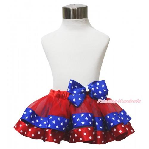 American's Birthday 4th July Red Minnie Royal Blue Patriotic Star Satin Trimmed Newborn Baby Pettiskirt Star Bow N256