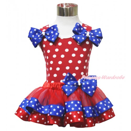 American's Birthday 4th July Red White Dot Baby Pettitop Star Twin Bows Red Minnie Blue Patriotic Star Satin Trimmed Baby Pettiskirt NN312