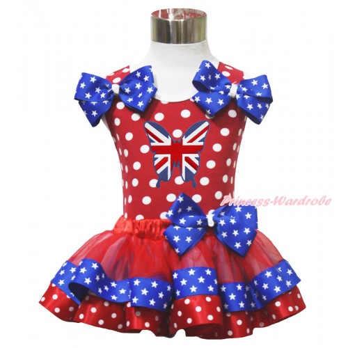 Red White Dot Baby Pettitop Star Twin Bows British Butterfly Red Minnie Blue Patriotic Star Satin Trimmed Baby Pettiskirt NN314