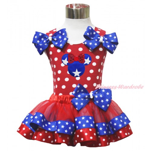 American's Birthday 4th July Red White Dot Baby Pettitop Star Twin Bows & Minnie Red Minnie Blue Patriotic Star Satin Trimmed Baby Pettiskirt NN315