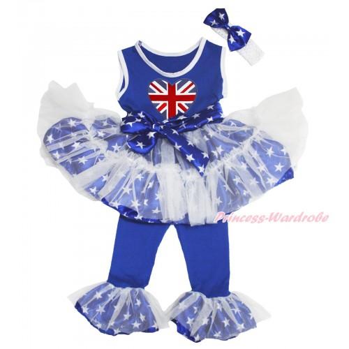 Royal Blue White Patriotic American Star Tutu Ruffles Tank Top & Patriotic British Heart Print & Pant Set & White Headband Star Bow P027