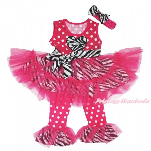 Valentine's Day Hot Pink White Dots Zebra Tutu Ruffles Tank Top & Zebra Heart Print & Pant Set & Hot Pink Headband Zebra Satin Bow P029
