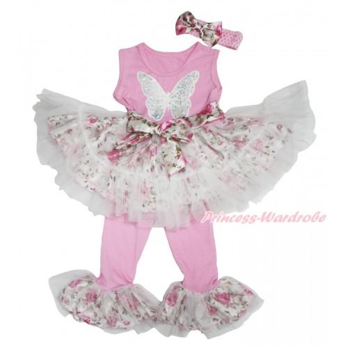 Light Pink Rose Fusion Tutu Ruffles Tank Top & Sparkle White Sequins Butterfly Print & Pant Set & Light Pink Headband Rose Satin Bow P032