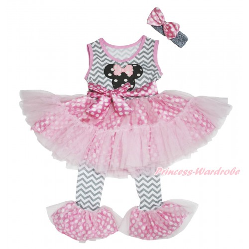 Grey White Chevron Pink White Dots Tutu Ruffles Tank Top & Black White Dots Minnie Print & Pant Set & Grey Headband Pink White Dots Satin Bow P037