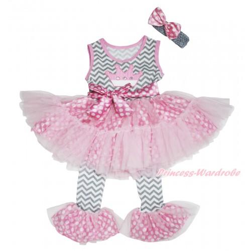 Grey White Chevron Pink White Dots Tutu Ruffles Tank Top & Crown Print & Pant Set & Grey Headband Pink White Dots Satin Bow P038