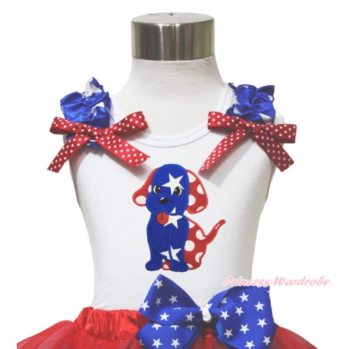 American's Birthday 4th July White Tank Top Patriotic Star Ruffle Red White Bow Minnie Dot Dog Puppy TB1142