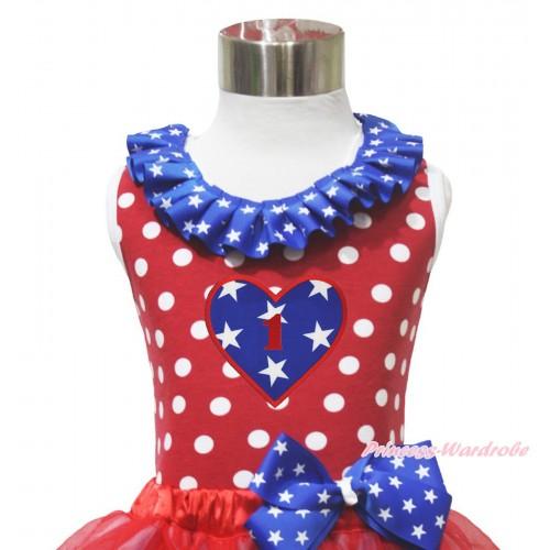 4th July Red White Dot Minnie Tank Tops Patriotic American Star Satin Lacing & 1ST Birthday Heart Print TP270