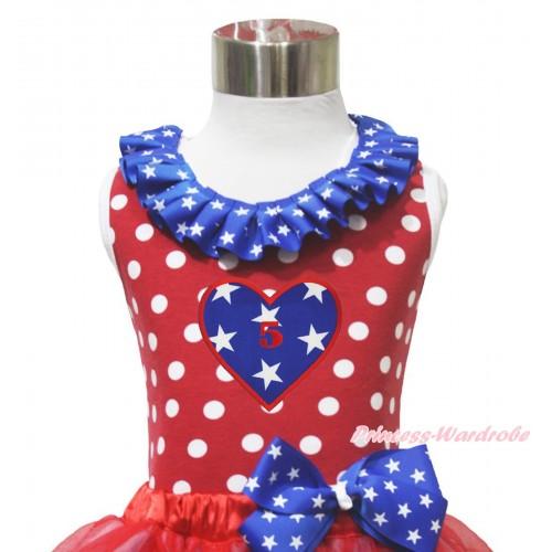4th July Red White Dot Minnie Tank Tops Patriotic American Star Satin Lacing & 5TH Birthday Heart Print TP274