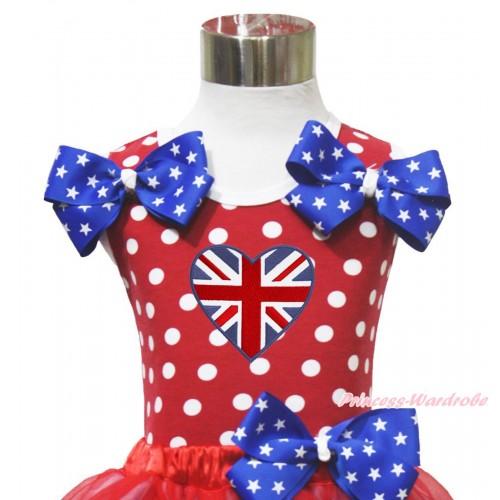 4th July Red White Dot Minnie Tank Tops Patriotic American Star Satin Twin Bow & British Heart Print TP276
