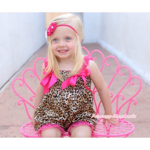 Leopard Loose Pant Romper with Hot Pink Bow & Lace Straps LR197