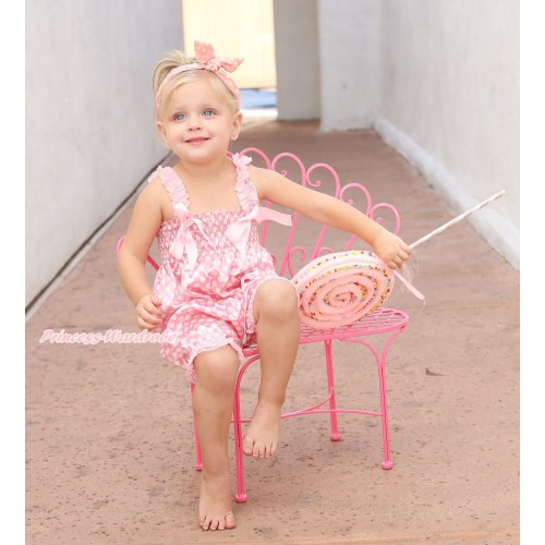 Ligth Pink White Dots Loose Pant Romper with Ligth Pink Bow & Lace Straps LR198