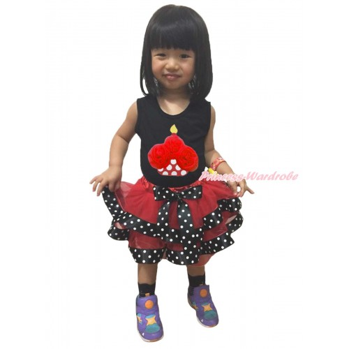 Black Baby Pettitop Red Rosettes Minnie Dots Birthday Cake Print & Red Black White Dots Trimmed Newborn Pettiskirt NG1724