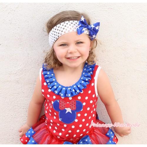 American's Birthday Minnie Dots Tank Top Patriotic American Star Lacing & American Star Minnie Print TB1199