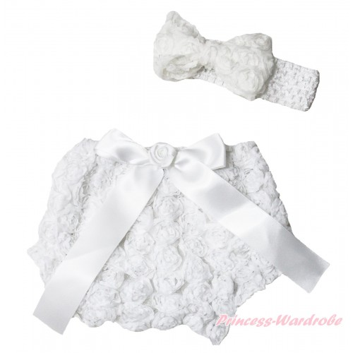 White Romantic Rose Panties Bloomers & Rose Bow & Headband Rosettes Bow BC199