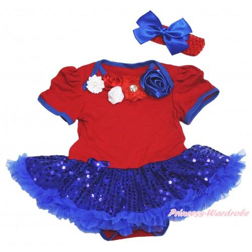 American's Birthday Red Baby Bodysuit Bling Royal Blue Sequins Pettiskirt & Red White Royal Blue Vintage Garden Rosettes Lacing JS4539
