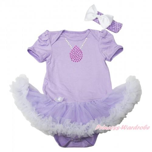 Princess Sofia Lavender Baby Bodysuit Lavender White Pettiskirt & Sparkle Rhinestone Necklace Print JS4550