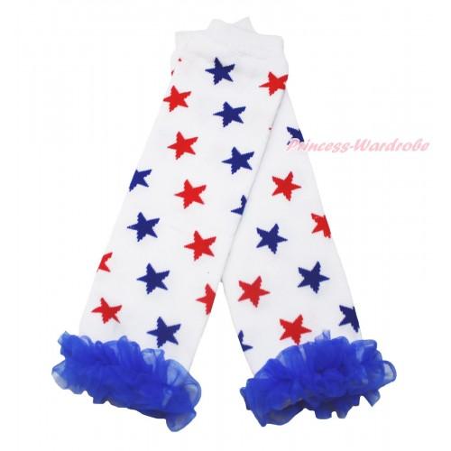 American's Birthday Newborn Baby Red Blue Star White Leg Warmers Leggings & Royal Blue Ruffles LG291