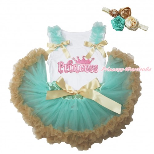 White Baby Pettitop Aqua Blue Ruffles Goldenrod Bows & Princess Print & Aqua Blue Goldenrod Newborn Pettiskirt NG1764