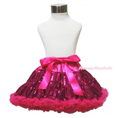 Sparkle Hot Pink Bling Sequins Full Pettiskirt P215