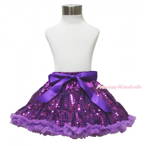 Sparkle Dark Purple Bling Sequins Full Pettiskirt P216