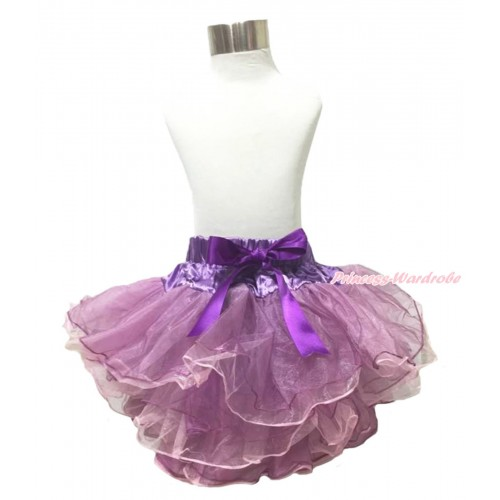 Lavender Light Pink 8 Layers Full Pettiskirt & Dark Purple Bow P218