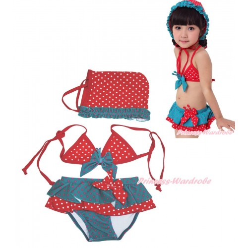 Peacock Blue Red White Dots Bikni Swimming Suit with Swim Cap SW86