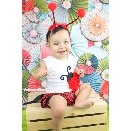 White Baby Pettitop Red Rosettes Beetle Print & Black Bow Red Black Dots Satin Bloomers & Beetle Headband BC202