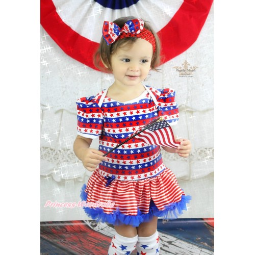 American's Birthday Red White Blue Striped Star Baby Bodysuit Red White Striped Pettiskirt JS4520