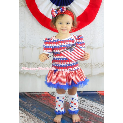 American's Birthday Red White Blue Striped Star Baby Bodysuit Red White Striped Pettiskirt & Headband & Leg Warmer JS4541