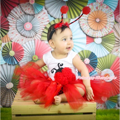 White Baby Pettitop Red Rosettes Beetle Print & Red Bow Ballet Tutu & Beetle Headband NG1775