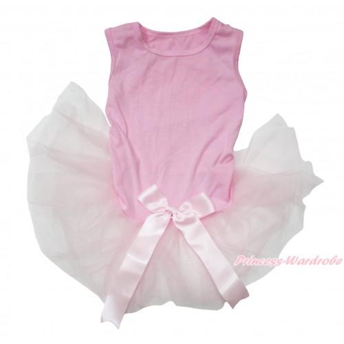 Light Pink Sleeveless Gauze Skirt & Bow Pet Dress DC208