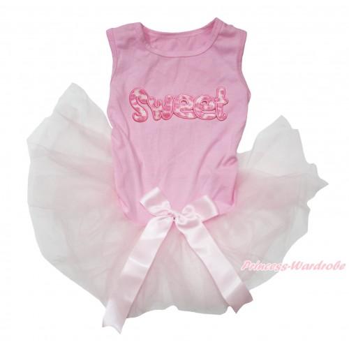 Light Pink Sleeveless Gauze Skirt & Sweet Print & Light Pink Bow Pet Dress DC210