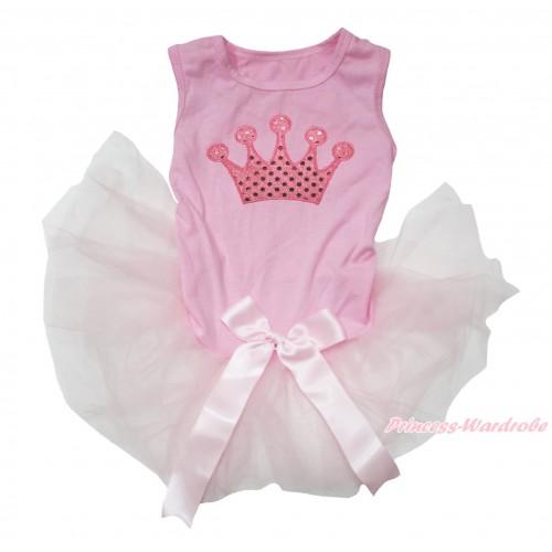 Light Pink Sleeveless Gauze Skirt & Sparkle Light Pink Crown Print & Light Pink Bow Pet Dress DC211