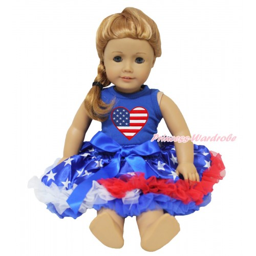 American's Birthday Royal Blue Tank Top Patriotic American Heart Print & American Star Pettiskirt American Girl Doll Outfit DO082