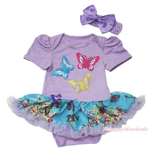 Lavender Baby Bodysuit Peacock Blue Butterfly Pettiskirt & 3D Sparkle Hot Pink Blue Yellow Butterfly Print JS4560