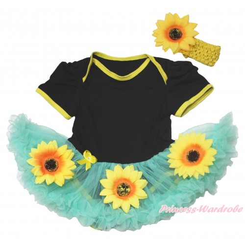 Black Baby Bodysuit Summer Sunflowers Aqua Blue Pettiskirt JS4566