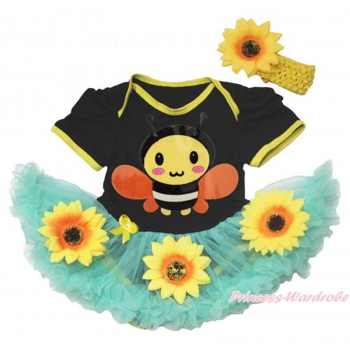 Black Baby Bodysuit Summer Sunflower Aqua Blue Pettiskirt & Bumble Bee Print JS4569