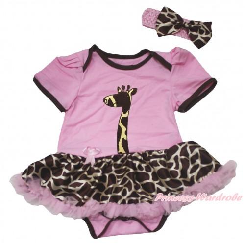 Light Pink Baby Bodysuit Giraffe Light Pink Pettiskirt & Giraffe Print JS4571