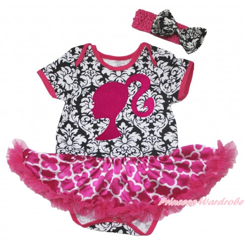 Damask Baby Bodysuit Hot Pink White Quatrefoil Clover Pettiskirt & Hot Pink Barbie Princess Print JS4583