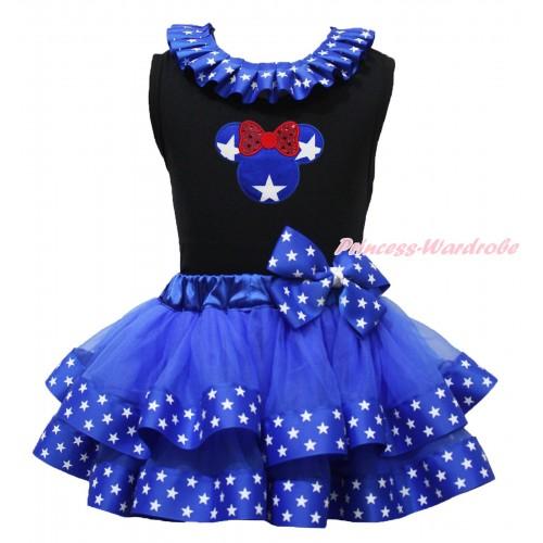 American's Birthday Black Tank Top Patriotic American Star Lacing & American Star Minnie Print & Royal Blue American Star Trimmed Pettiskirt MG1687