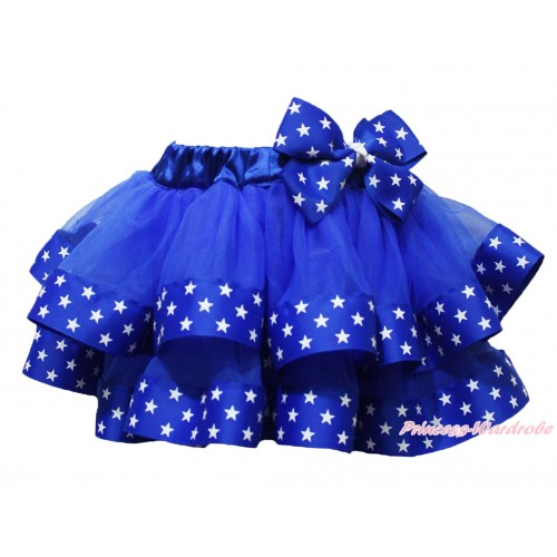 American's Birthday Royal Blue Patriotic American Star Satin Trimmed Newborn Baby Pettiskirt & Star Bow N259