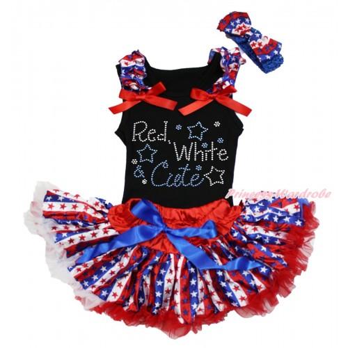 American's Birthday Black Baby Pettitop Red White Blue Striped Star Ruffles Red Bows & Rhinestone Red White Cute Print & Red White Blue Striped Star Newborn Pettiskirt NG1725