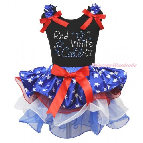 American's Birthday Black Baby Pettitop Patriotic American Star Ruffles Red Bow & Rhinestone Red White Cute Print & Red Bow Patriotic American Star Red White Blue Petal Newborn Pettiskirt NG1727