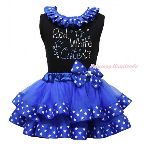 American's Birthday Black Baby Pettitop Patriotic American Star Lacing & Rhinestone Red White Cute Print & Royal Blue American Star Trimmed Newborn Pettiskirt NG1729