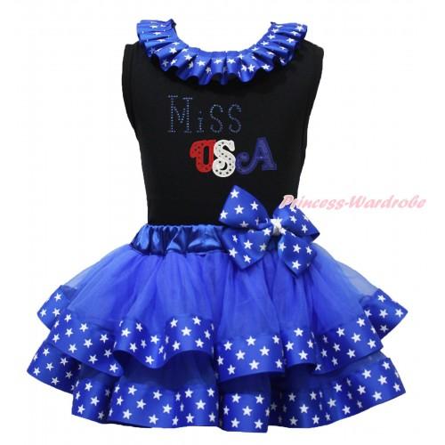 American's Birthday Black Baby Pettitop Patriotic American Star Lacing & Sparkle Rhinestone Miss USA Print & Royal Blue American Star Trimmed Newborn Pettiskirt NG1731