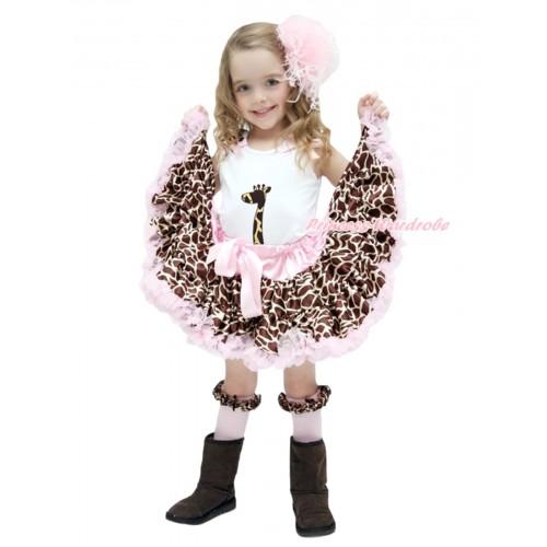 White Baby Pettitop Giraffe Ruffles Light Pink Bows & Giraffe Print & Light Pink Giraffe Newborn Pettiskirt NG1774